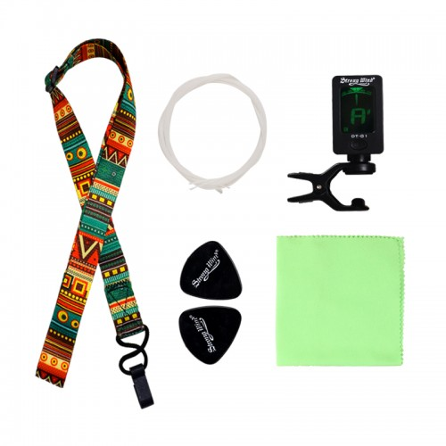 Strong Wind Guitar Ukulele Accessories(Tuner, Strap, Strings, Picks & Cleaning Cloth)